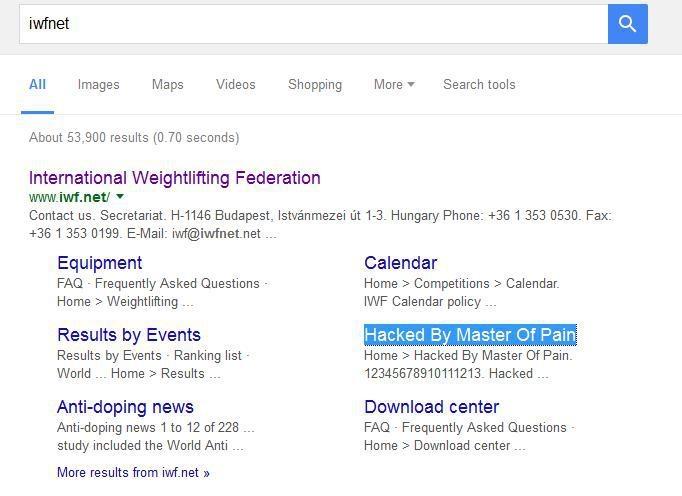 آثار هک وبسایت سایت فدراسیون جهانی وزنهبرداری در گوگل